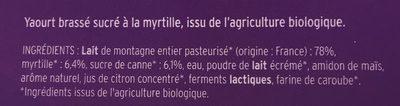 Yaourt brassé sur lit de Myrtilles - Ingrédients - fr