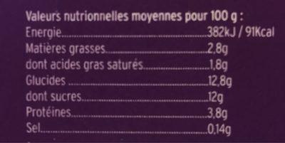 Yaourt brassé sur lit de Myrtilles - Informations nutritionnelles - fr