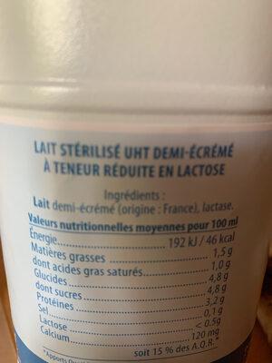 Lait facile à digérer - Ingrédients - fr