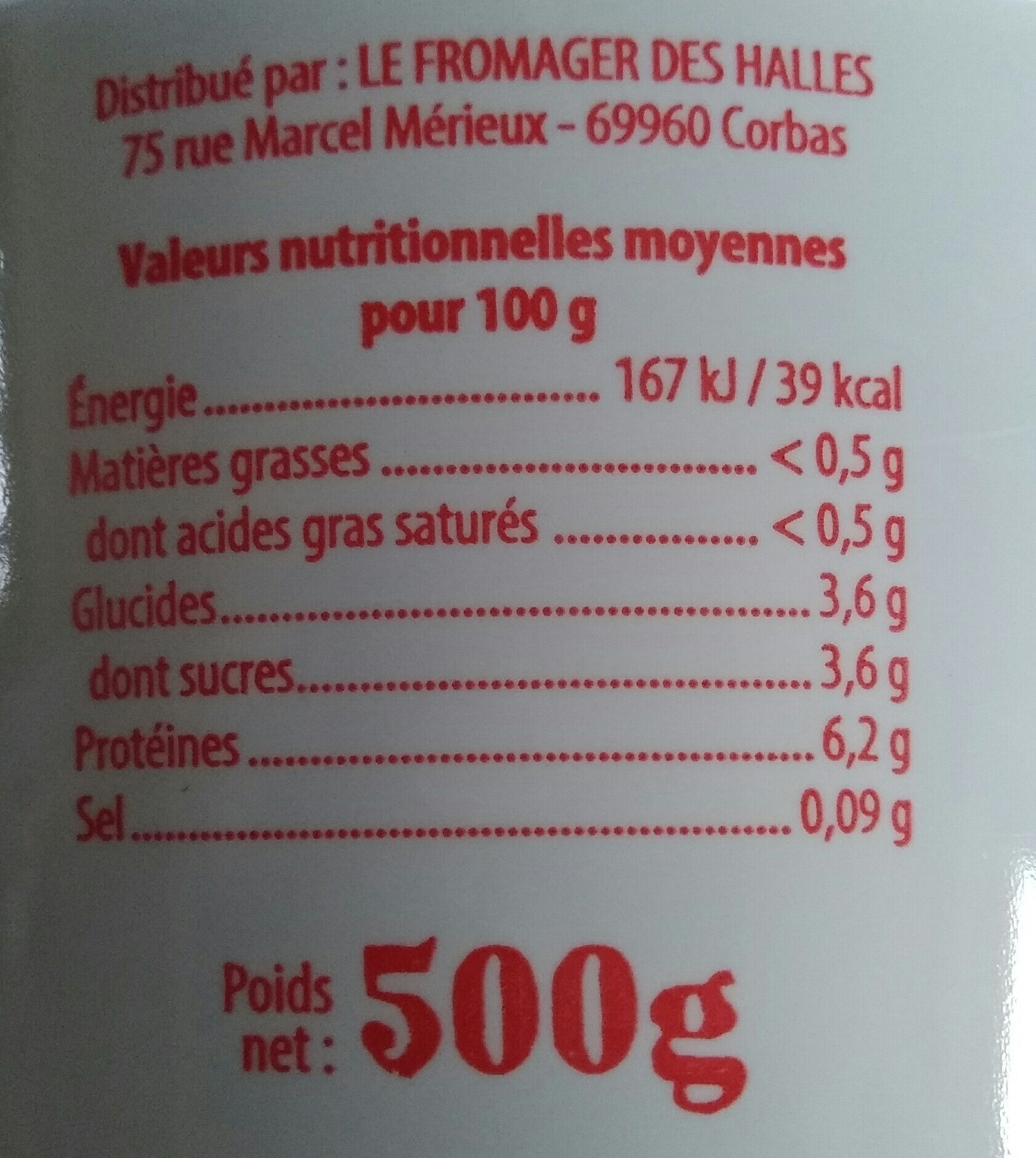 Le fromage blanc - Nutrition facts - fr