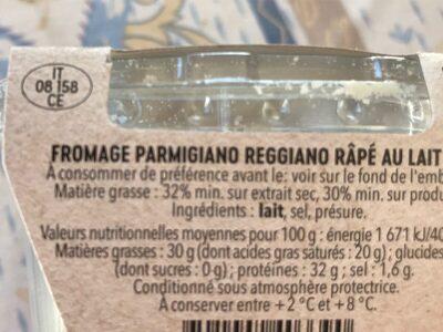 Parmigiano Reggiano râpé - Ingredients