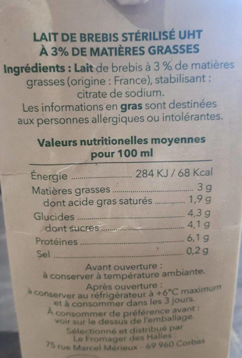 Lait de brebis stérilisé UHT 3% MG - Informations nutritionnelles - fr