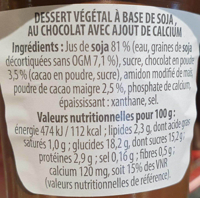 Dessert soja au chocolat - Nutrition facts - fr