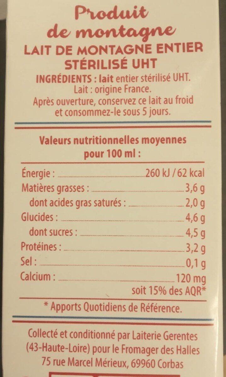 Lait de montagne - Valori nutrizionali - fr