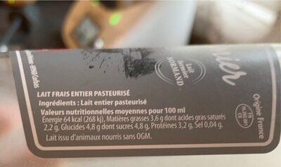 Lait frais fermier entier - Valori nutrizionali - fr