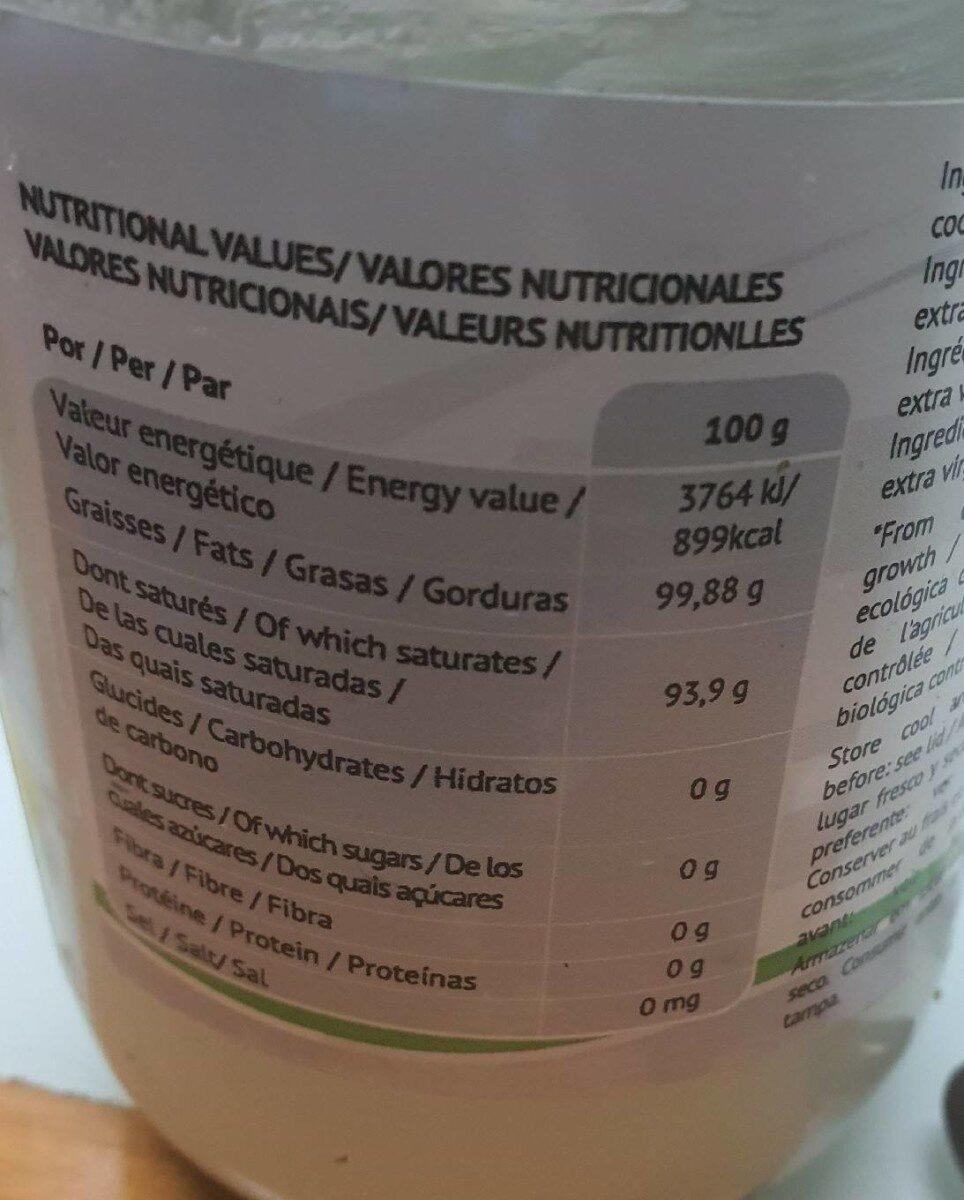 Aceite de coco - Informació nutricional - es
