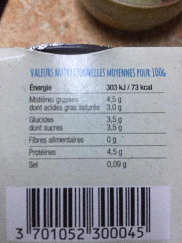 Yaourt de chèvre bio nature - Nutrition facts - fr