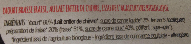 Yaourt de chevre bio a la fraise - Ingredients - fr