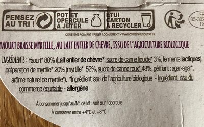 Yaourt chevre myrtille - Ingredients - fr