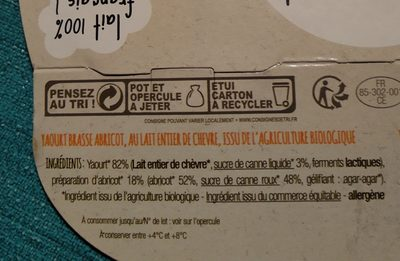 Yaourt de chèvre bio abricot - Ingrédients