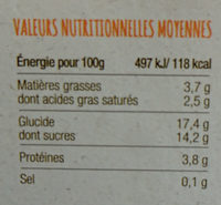 Yaourt de chèvre bio abricot - Informations nutritionnelles
