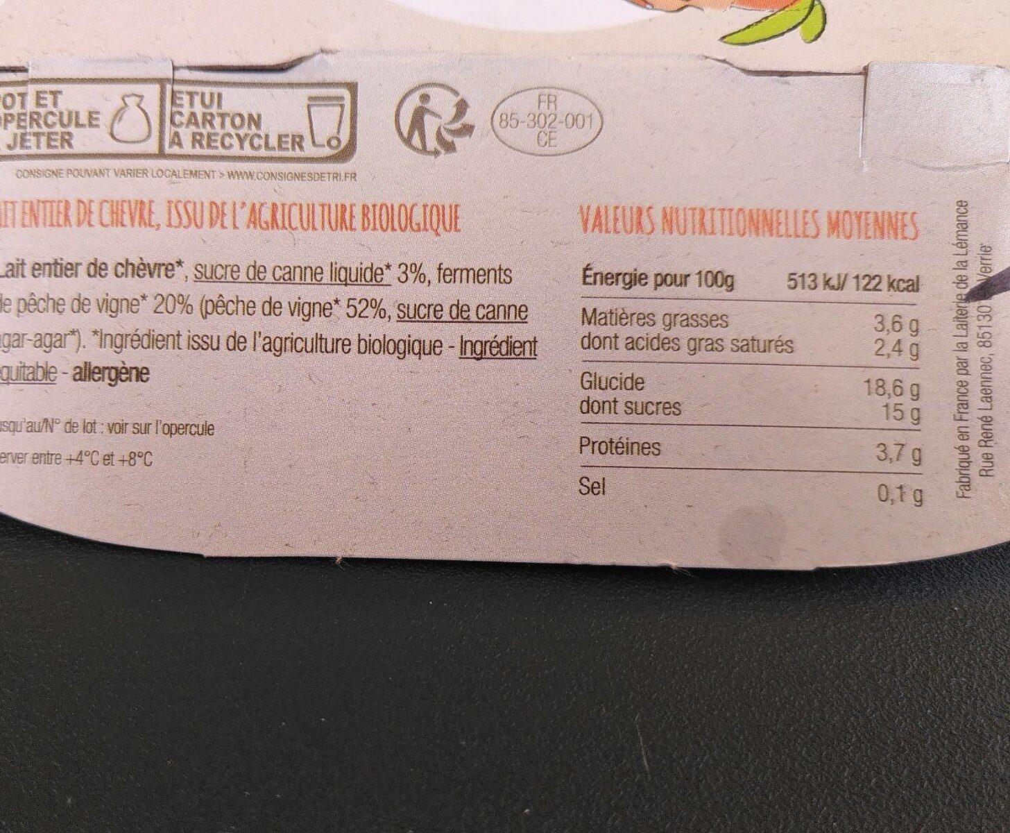 Yaourt de chèvre à la pêche de vigne - Nutrition facts - fr