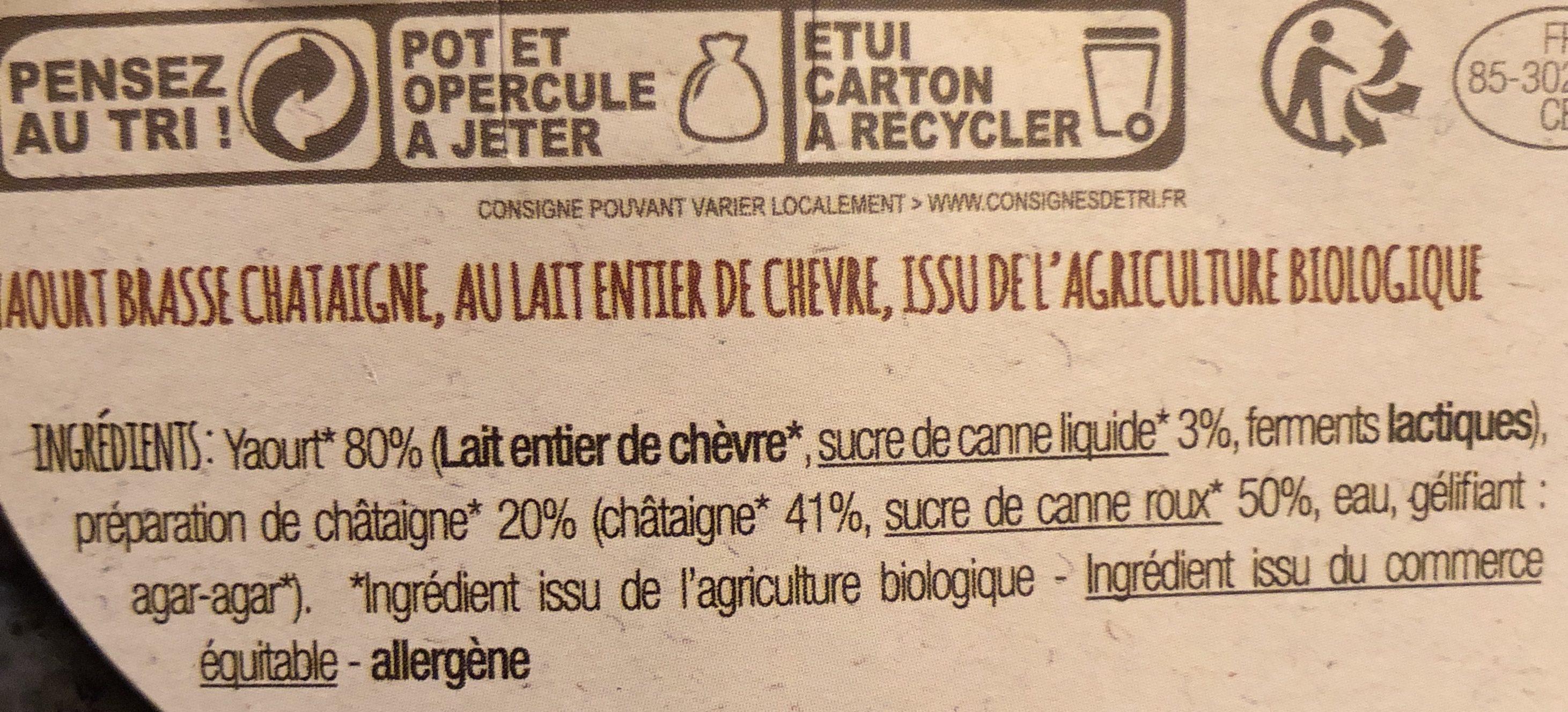 Yaourt Chèvre à la châtaigne - Ingredients