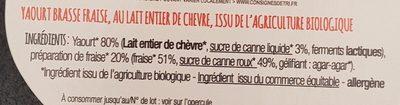 Yaourt de Chèvre - Ingrediënten - fr
