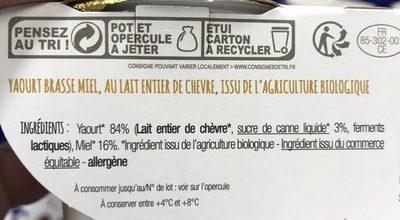 Yaourt - Ingrediënten - fr