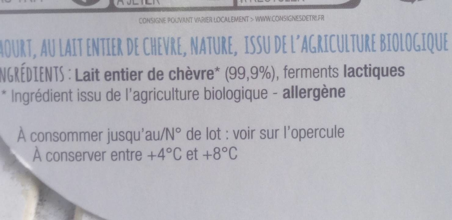 Yaourt de chèvre nature bio - Ingrediënten - fr