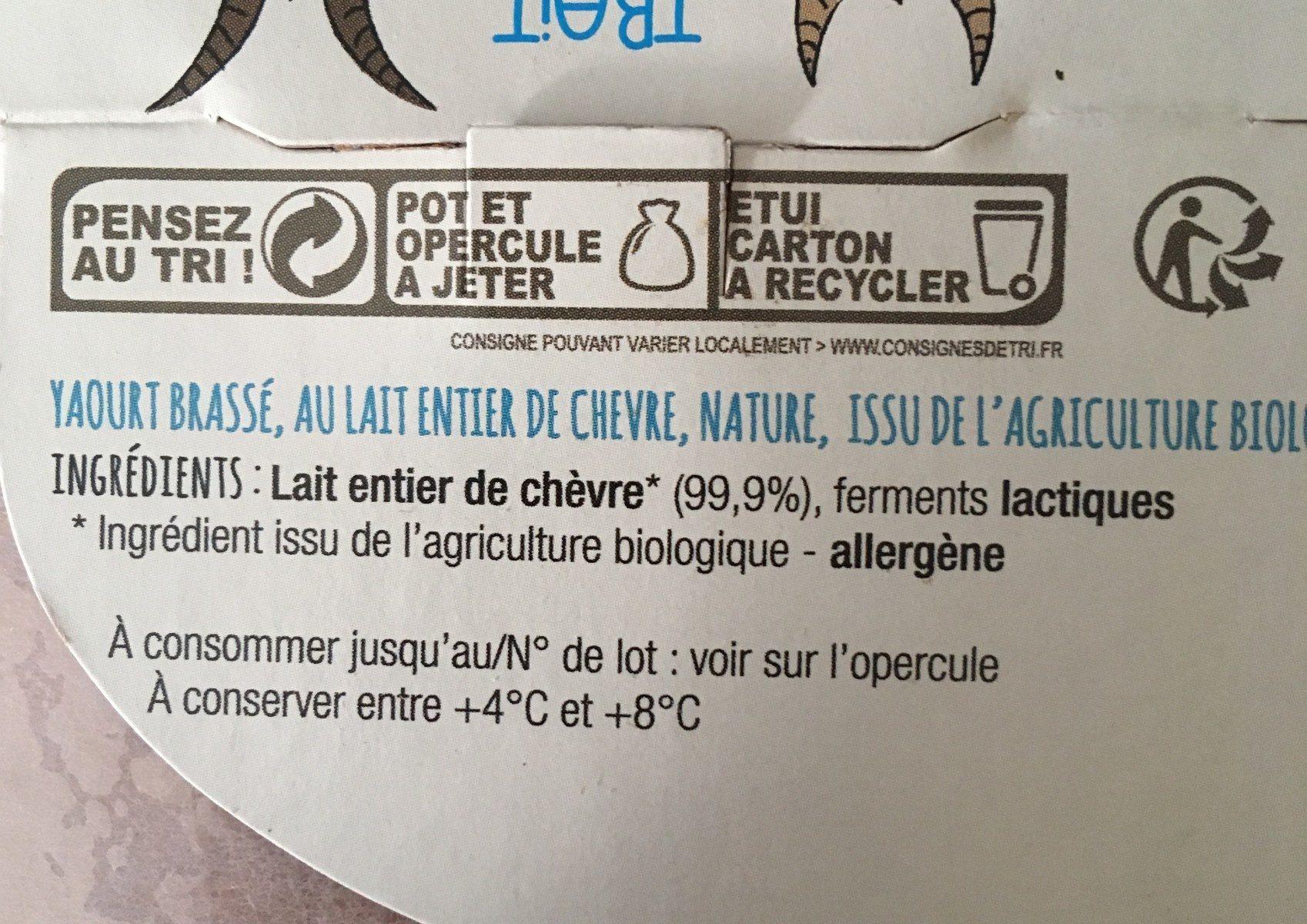 Yaourt de chevre - Ingrediënten - fr