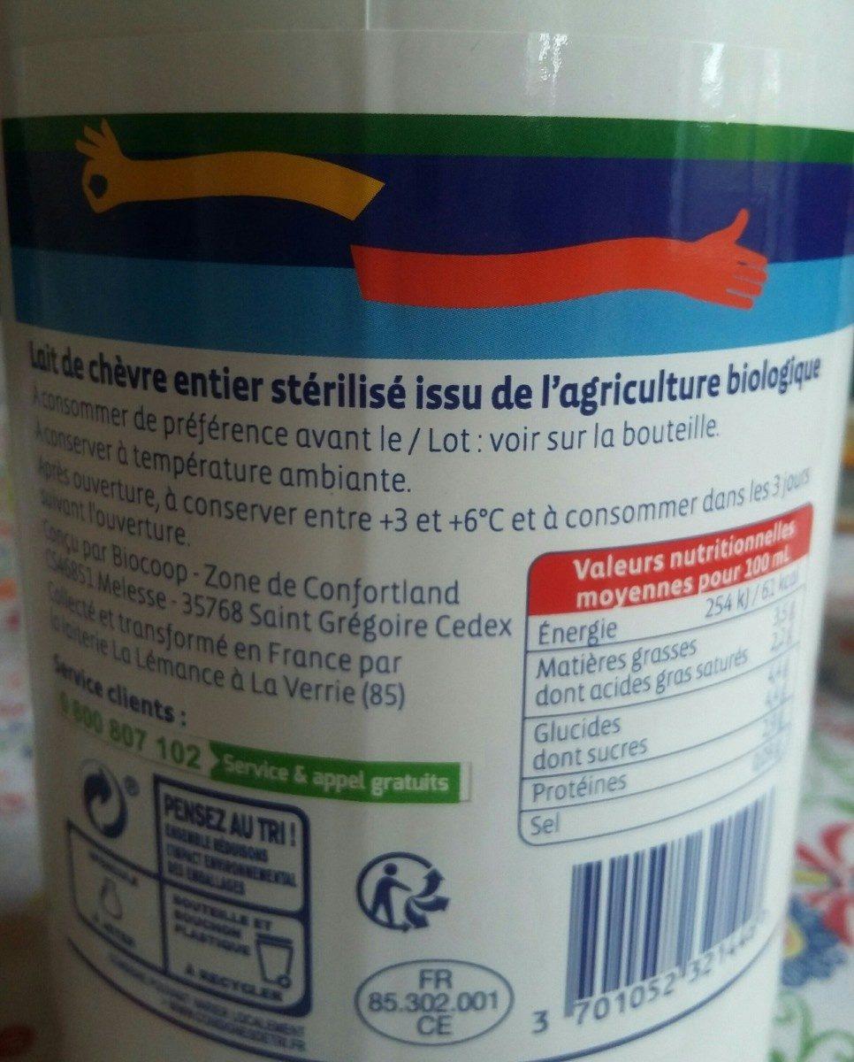 Lait entier de chèvre - Ingredients - fr