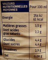 Lait entier de chèvre - Nutrition facts - fr