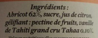 Abricot Vanille - Ingrediënten - fr