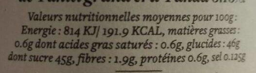Abricot Vanille - Voedingswaarden - fr