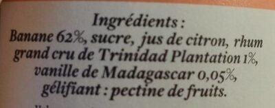 Confiture Banane Vanille - Ingrediënten - fr