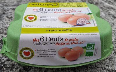 Mes 6 œufs biologiques de poules élevées en plein air - Product - fr