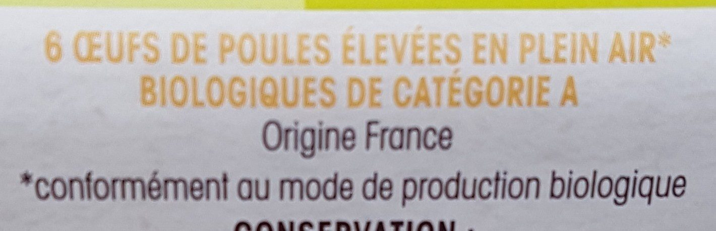 Mes 6 œufs biologiques de poules élevées en plein air - Ingredients - fr