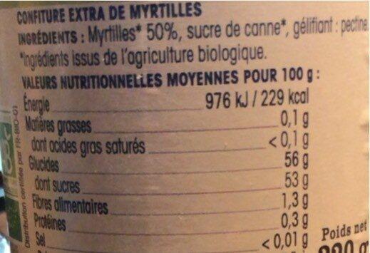 Ma confiture bio de myrtilles - Valori nutrizionali - fr
