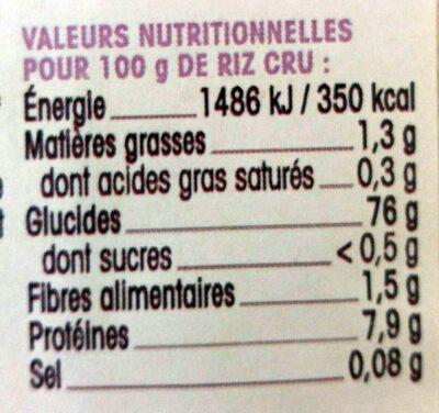 Basmati blanc - Informations nutritionnelles - fr