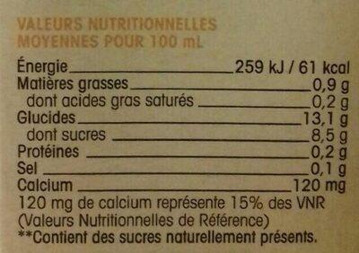 Riz calcium naturéo - Informations nutritionnelles