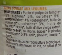 Ma sauce bio aux légumes du soleil - Ingrédients - fr