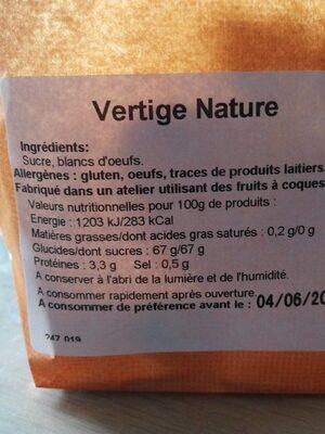 Vertige nature - Nutrition facts - fr