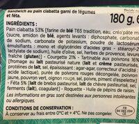 Pain ciabatta aux herbes de provence, poivrons et courgettes - Ingredients - fr