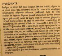 Poulet fermier mariné au citron confit, boulgour,legumes - Ingredients - fr