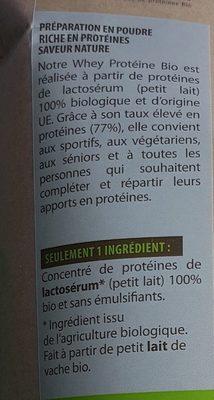 Whey proteine bio saveur nature - Ingrediënten