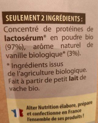 Whey protéine bio vanille - Ingrediënten