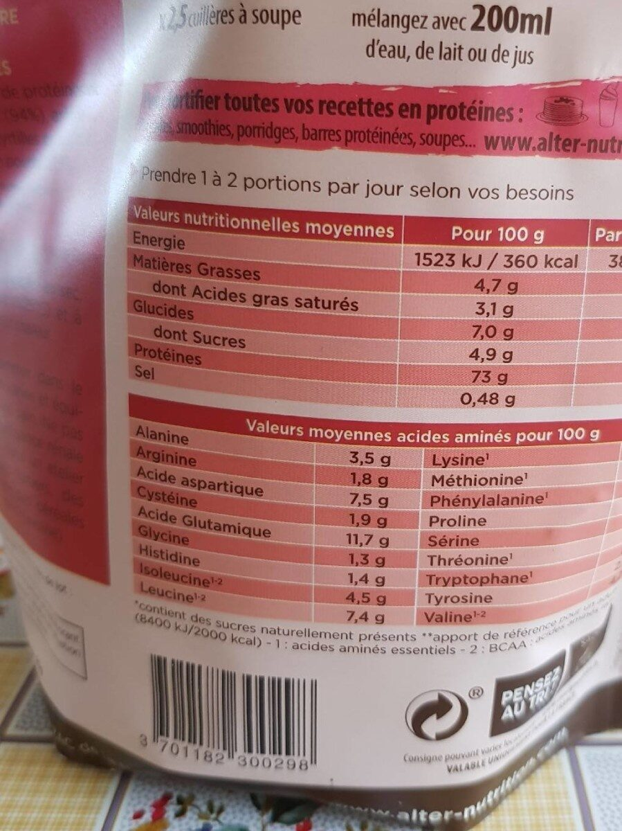 Whey Proteines Fruits Rouges - Voedigswaarden