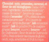 Noir amandes, caramel et sel de Guérande - Ingredientes