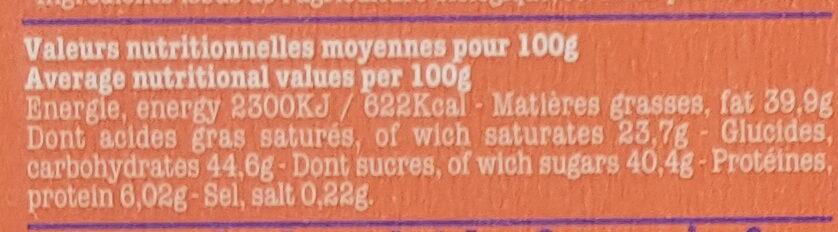 Noir amandes, caramel et sel de Guérande - Información nutricional