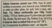 Cameroun cacaoté Noir 72% - Ingredients