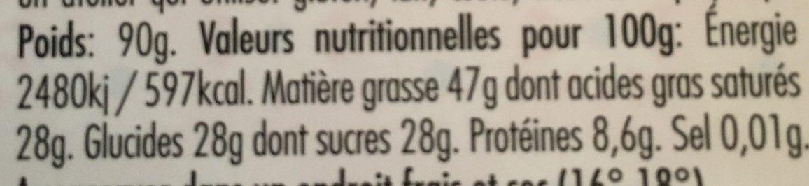Cameroun cacaoté Noir 72% - Nutrition facts