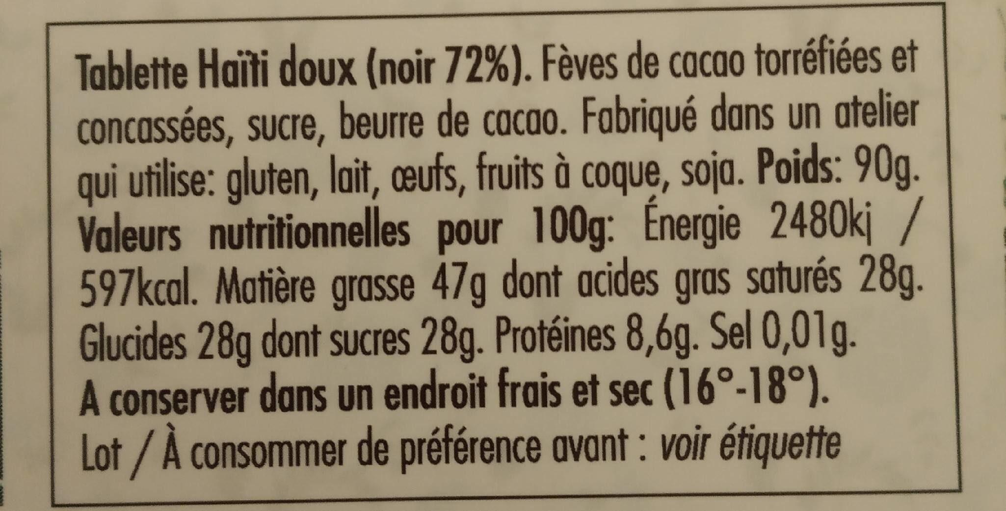 Chocolat Haïti Doux noir 72% - Nutrition facts - fr