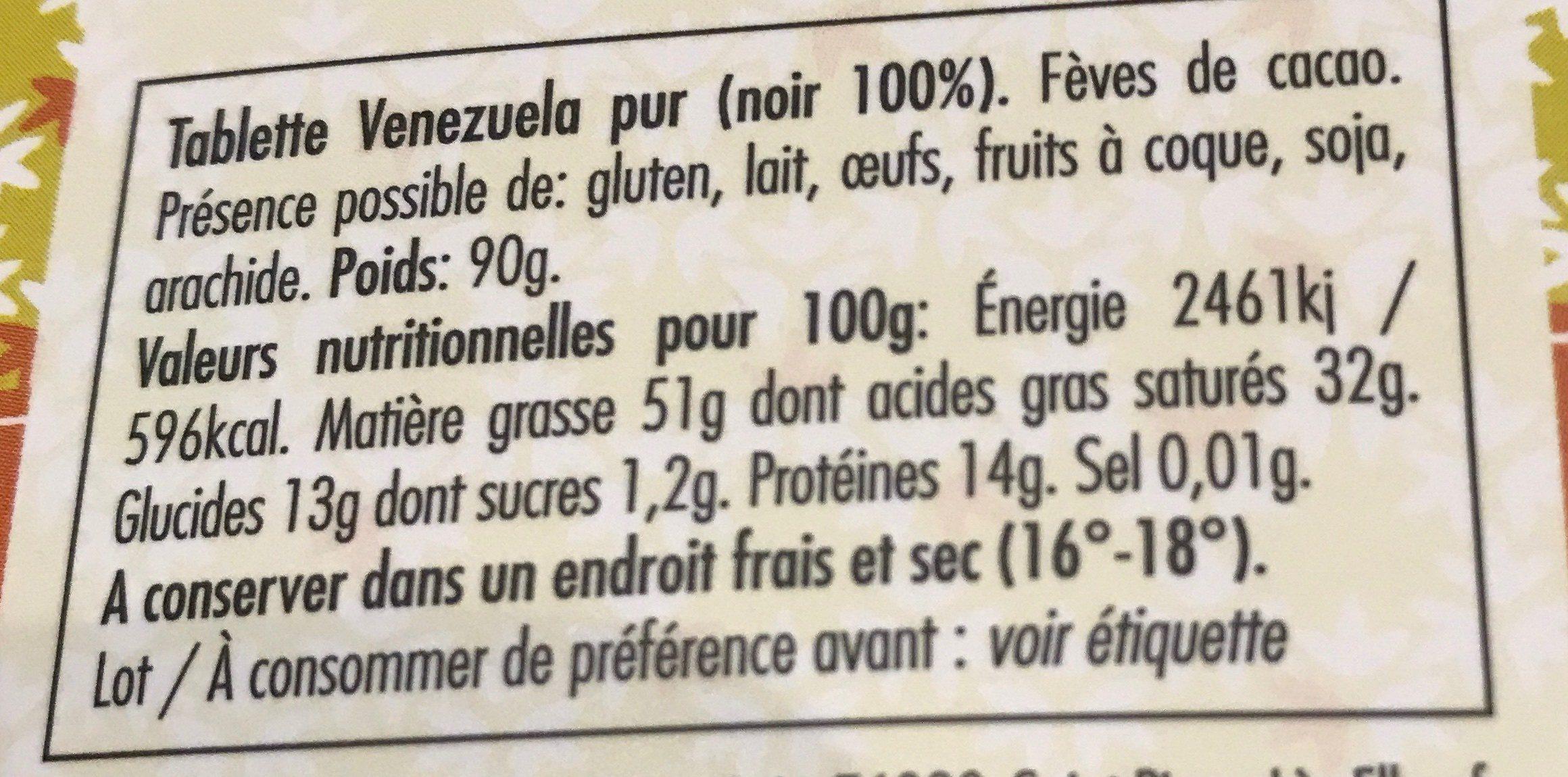 Vénézuela pur noir 100% - Ingredients