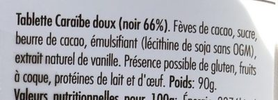 Caraibe doux Noir 66% - Ingredients - fr
