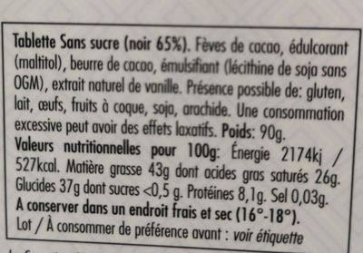 Chocolat sans sucre noor 65% - Ingredients - fr