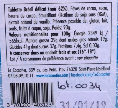 Chocolat Brésil délicat noir 62% - Ingredients