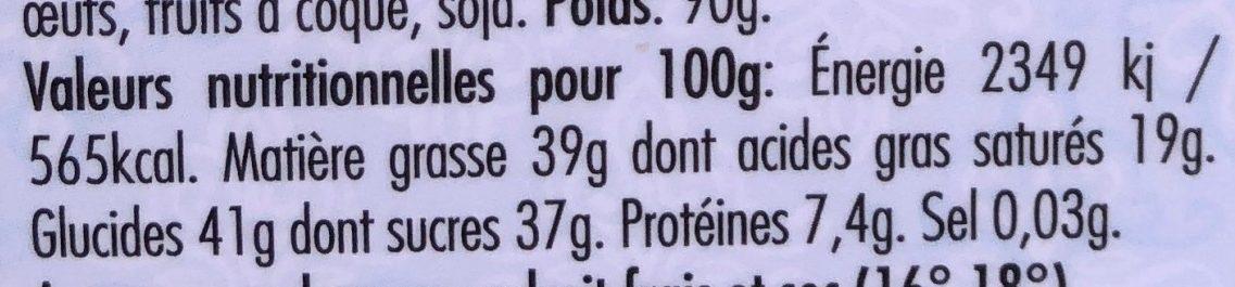 Chocolat Brésil délicat noir 62% - Nutrition facts