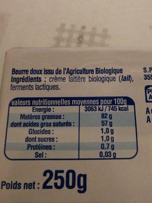 Beurre doux - Inhaltsstoffe - fr