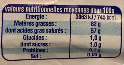 Beurre doux - Nährwertangaben - fr